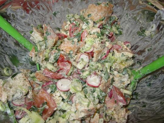Fattoush: so sieht dieser frische Sommer-Salat aus, wenn er schön gemengt auf den Tisch kommt.