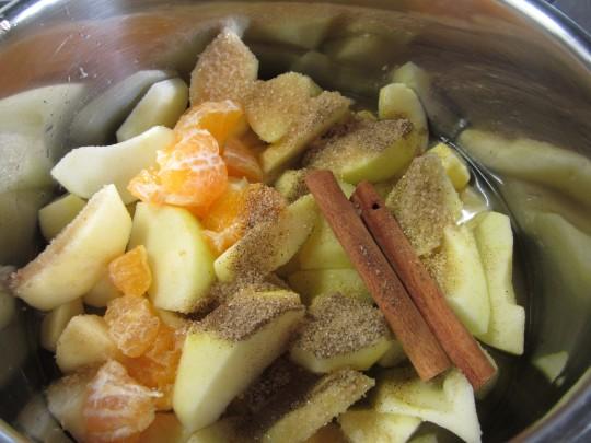 Alle Zutaten für das weihnachtliche Apfel-Mandarinen-Kompott
