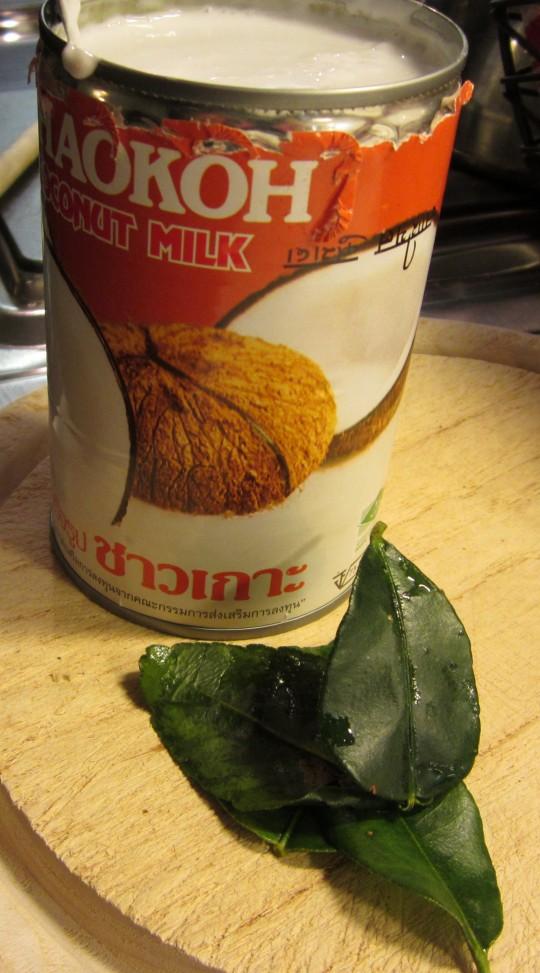 Kokosmilch und Zitronenblätter für unser Curry