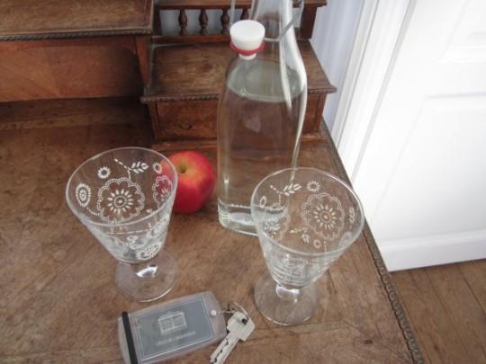 Frisches Wasser auf dem Zimmer - liebevolle Details wie diese schönen Gläser